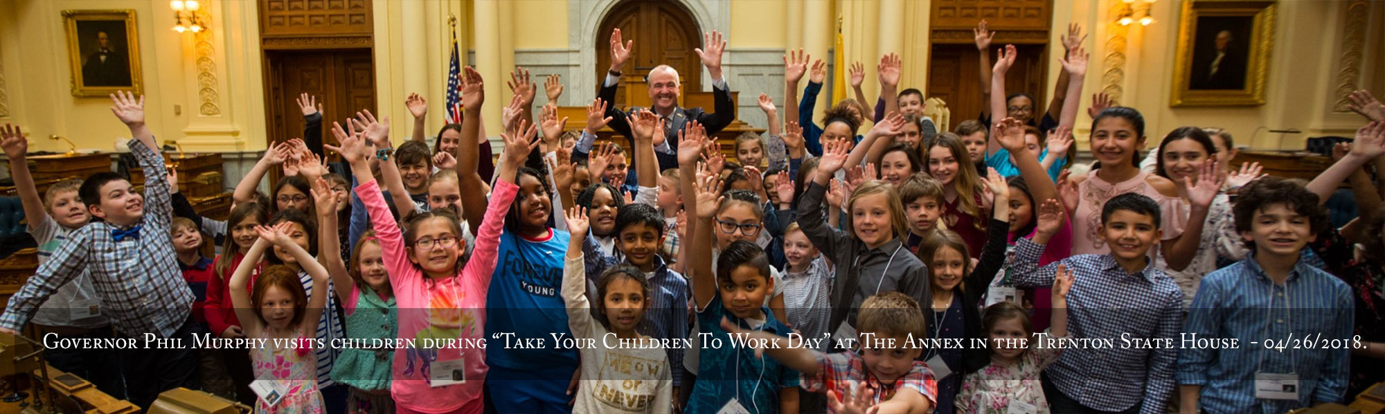 "Governor Phil Murphy visits children during ""Take Your Children To Work Day"" at The Annex in the Trenton State House on Thursday, April 26, 2018"