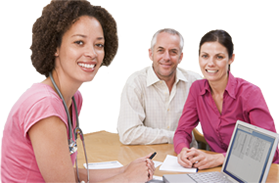 Photos of a Health professional sitting around a table with clients