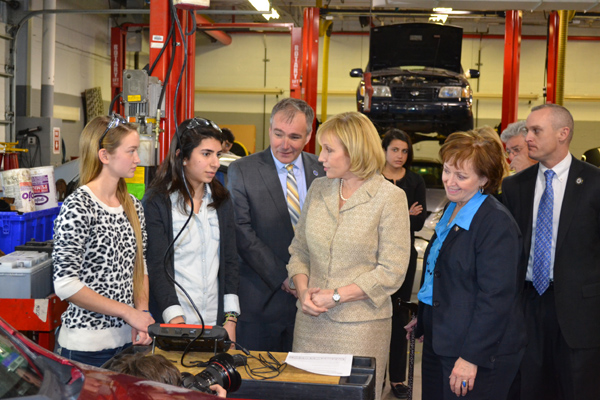 Labor Commissioner Harold J. Wirths (center) and Lt. Governor Kim Guadagno  spoke to students and faculty at the Bergen County Technical High School in  ...