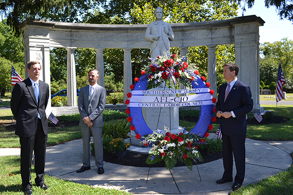 Deputy Labor Commissioner Aaron R. Fichtner, PhD offered remarks at the site of the Peter J. McGuire Memorial alongside Southern New Jersey Central Labor Council President Bob Schiavinato and Congressman Donald Norcross.