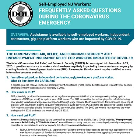 Self-Employed NJ Workers: FREQUENTLY ASKED QUESTIONS DURING THE CORONAVIRUS EMERGENCY
