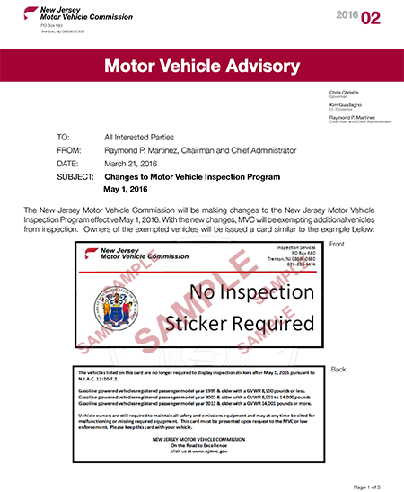 new jersey motor vehicle commission cessation of ForMotor Vehicle Inspection Nj