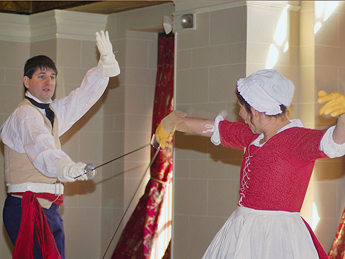 Masters of the sword from the American Historical Theatre perform during Patriots' Week