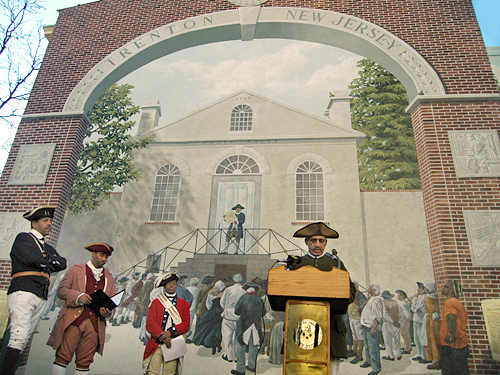 Reading of the Declaration of Independence in front of the outdoor mural of the first reading, Trenton