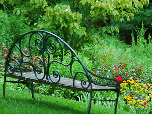 Iron bench overlooking a flower path