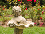A sculpted bird bath in the rose garden