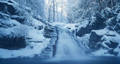 Snow Covered Waterfall