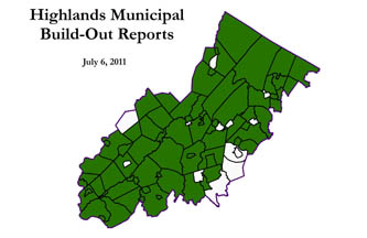 Highlands Municipal Build-Out Reports have been posted for the municipalities colored in dark green; click for larger map