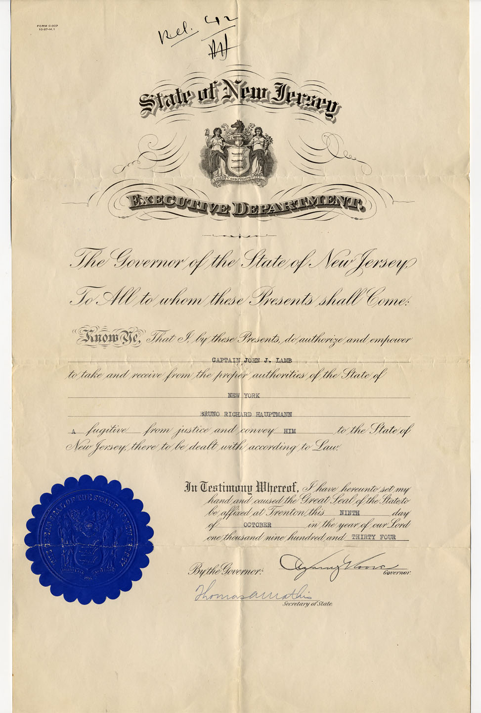 New jersey department of state a harry more to the state of new york requesting that bruno richard hauptmann be conveyed to the state of new jersey trenton nj 9 october 1934 not 1betcityfo Images