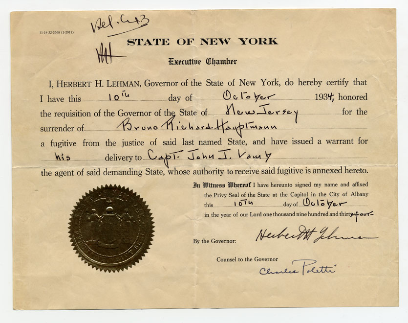 New jersey department of state herbert h lehman of new york honoring requisition of state of new jersey for surrender of bruno richard hauptmann albany ny 10 october 1934 not listed yelopaper Choice Image