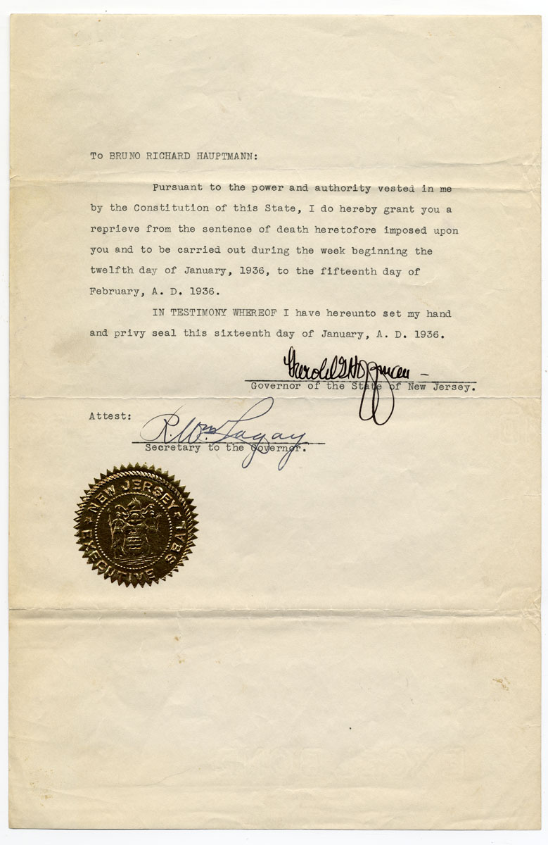 New jersey department of state harold g hoffman postponing death sentence of bruno richard hauptmann from week of 12 january to 15 february 1936 trenton nj 16 january 1936 item 7 1betcityfo Images