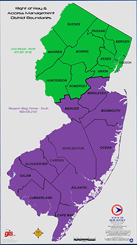 Map of the three regions of New Jersey for Right of Way regional offices.