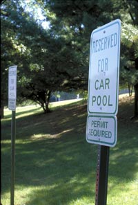 Reserved parking spaces are for carpools photo.