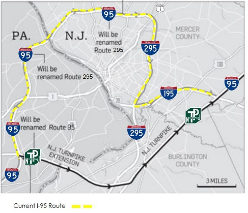 I95/295 Signing Redesignation Project Overview on interstate 495 map, us interstate highway system, i-355 map, new jersey turnpike, interstate 25 map, i-64 map, interstate 93 map, richmond hill ga map, i-90 map, interstate 81 map, i-294 map, interstate 91 map, pennsylvania turnpike, i-40 map, i-81 map, i-69 map, interstate 10 map, u.s. route 66, i-5 map, interstate 75 map, interstate 77 map, garden state parkway map, i-77 map, i-55 map, u.s. route 1,