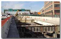 The 14th Street Viaduct roadway deck has been completely demolished for reconstruction of the structure photo.