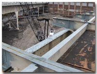 Crews work on structural steel repairs during Stage 5 for the 12th Street Viaduct photo.