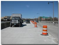 This view is of the newly placed concrete deck riding surface on the 12th Street Viaduct photo.