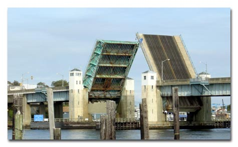 The existing bascule span in the open position photo.