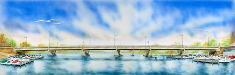 Architectural rendering of the new bridge