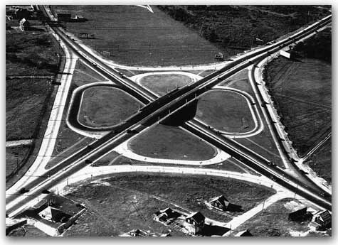 The new Route 1&9/35 Interchange, looking northwest, circa 1929 photo.
