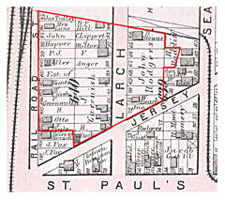 The Covert/Larch Historic District as mapped by Hopkins in 1873
