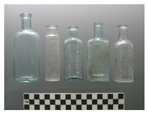 Medicine bottles recovered from backyard features at 23 Seaman Avenue and 73/75 Larch Avenue