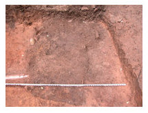 Opening view of buried historic privy. Note later drainpipe leading into earlier feature indicated by dark stain on surface