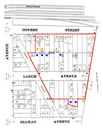 1896 Sanborn map of lots in the Covert/Larch Historic District