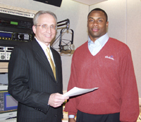 Transportation Commissioner Jack Lettiere and Philadelphia Eagle Troy Vincent have recorded a radio announcement that urges motorists to follow three simple safety rules. It is being aired on New Jersey stations during April, May and June.
