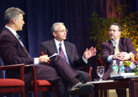 NJDOT Acting Commissioner Jack Lettiere (center) makes a point to panel moderator Steve Adubato (left) and NJ TRANSIT's Executive Director George Warrington (right).